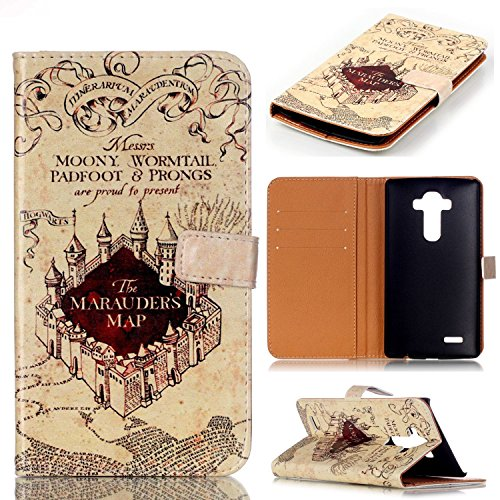 G3 Case, LG G3 Wallet CASE - Hogwarts Marauder's Map Pattern Premium PU Leather Wallet Case Stand Cover with Card Slots, Cash Compartment for LG G3 - Cool as Great Gift