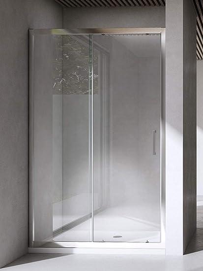 Box doccia porta scorrevole per nicchia profilo cromato altezza 195 cristallo 6mm anticalcare 125 cm
