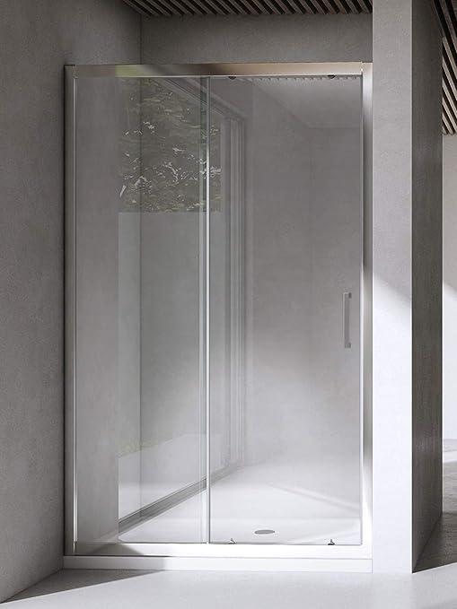 Cabina de ducha/ baño. Puerta de mampara corredera y reversible de cristal templado de 6 mm, transparente o esmerilado: Amazon.es: Bricolaje y herramientas