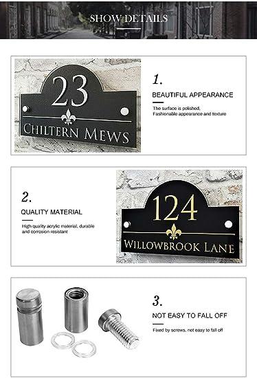 Numeros casa exterior Las placas Personalizar personalizada Placas /& House Direcci/ón N/úmero muestras de la puerta y nombre de la propiedad Color : Black, Size : 140x200mm