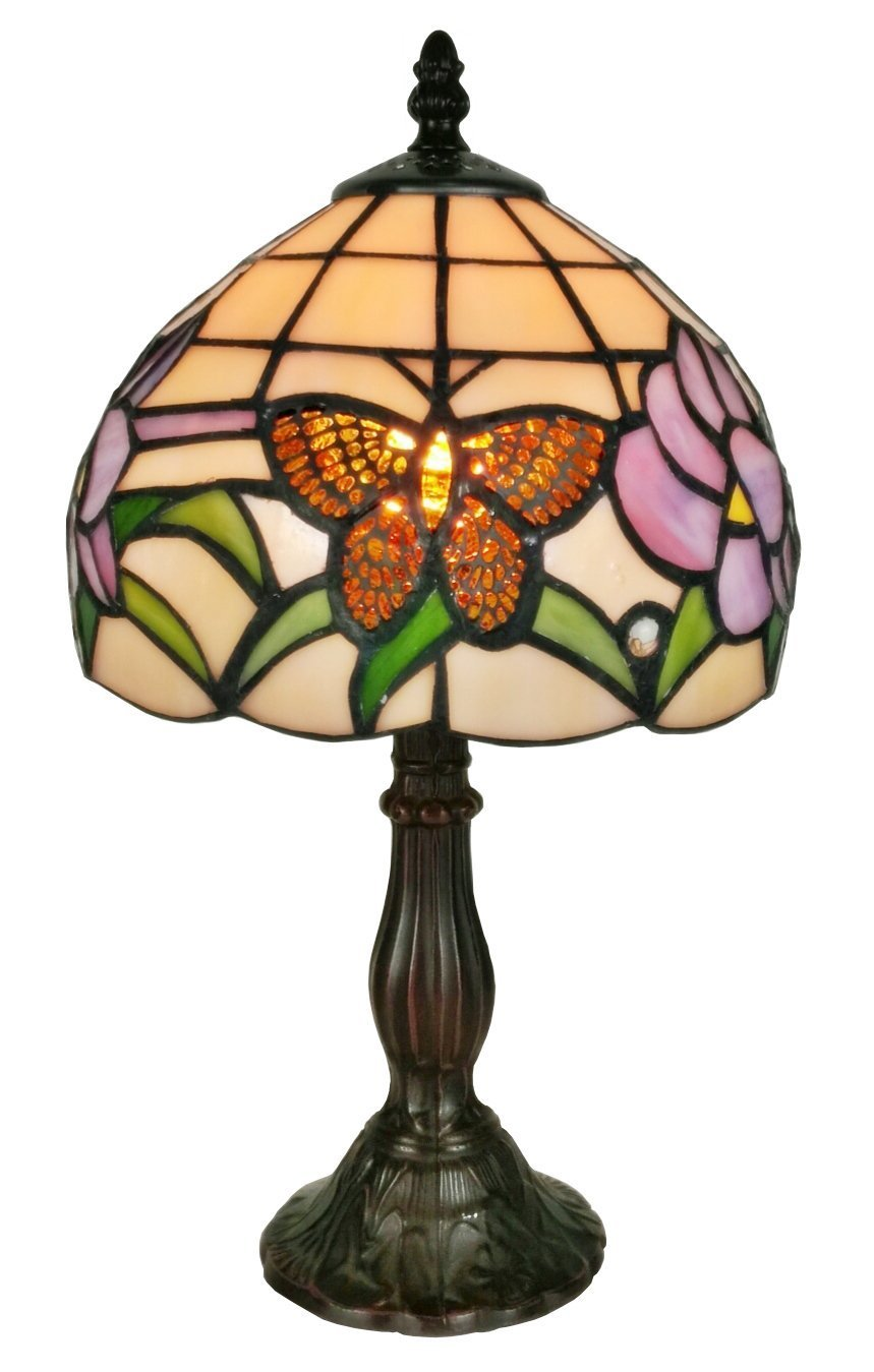 Amora Lighting Tiffany Style Mini Accent Lamp 15 Tall Stained Glass Green Orange Tan Purple Floral Vintage Antique Light D cor Nightstand Living Room Bedroom Office Handmade Gift AM210TL08