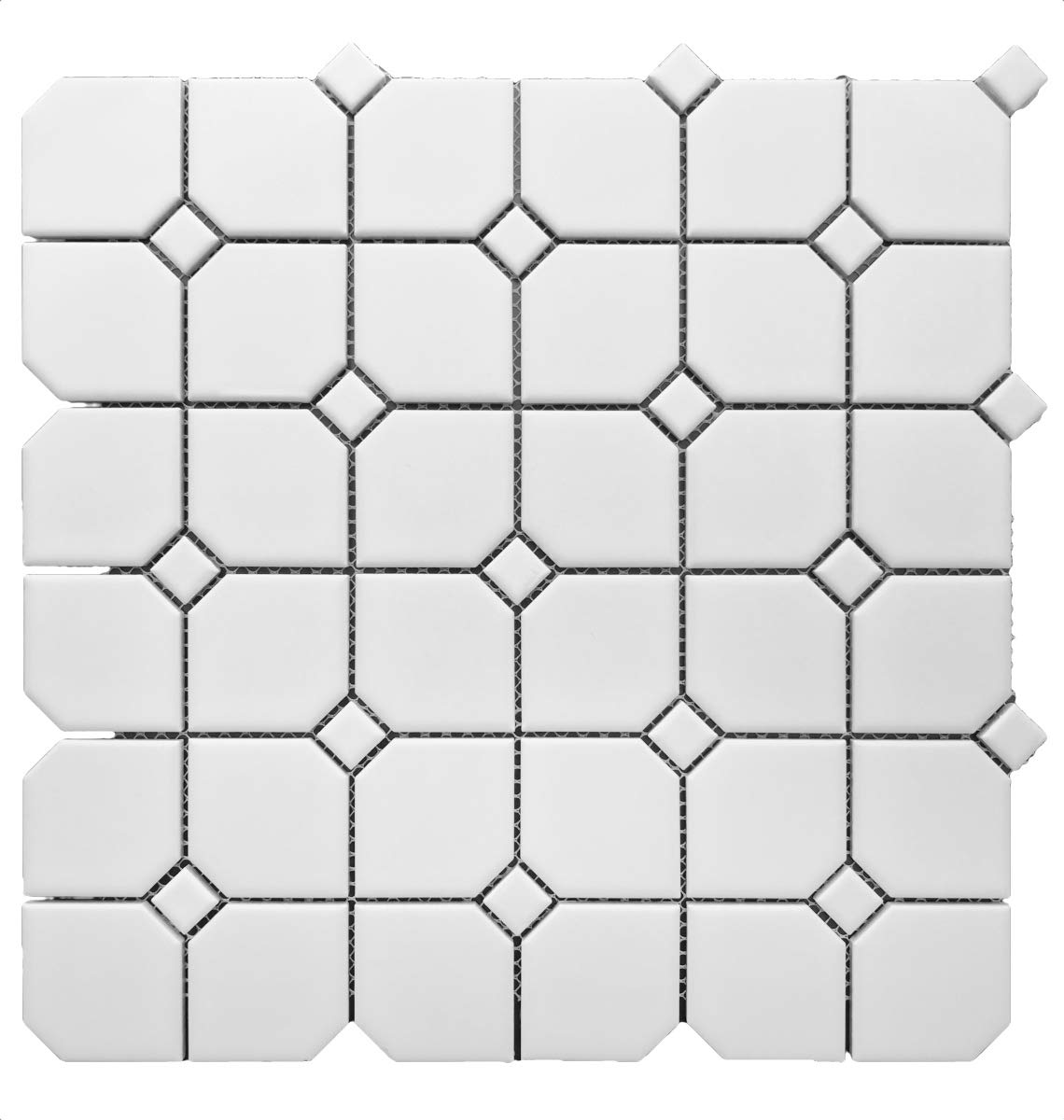 1 Carton/10 SQFT | White 2'' Half Octagon Mosaic Tile (Matte)
