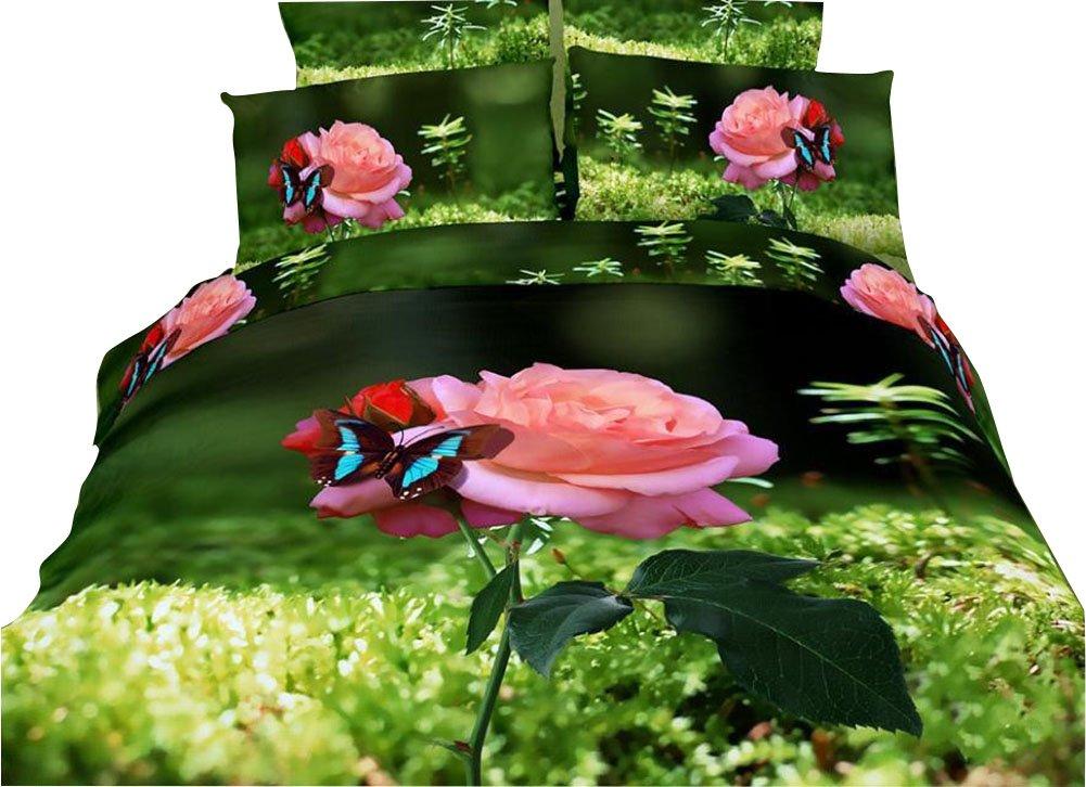 JINFUホームテキスタイル3d寝具セット、ピンクローズ、特別な寝具セット、クイーンサイズ、4ピース B00VYEWU6S