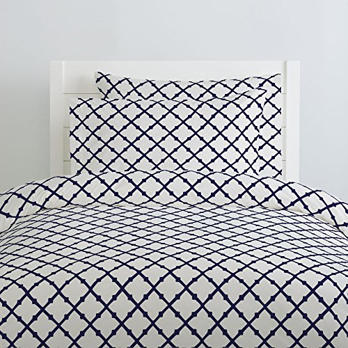(Carousel Designs Windsor Navy Lattice Duvet Cover Twin Size - Organic 100% Cotton Duvet Cover - Made in The USA)