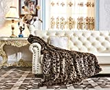 Lindsey Home Fashion Faux Fur Throw, Fur Blankets Super Soft Japanese Kanekalon Fiber, Sheepskin, Mink, Wolf, Bear, 60''x80'', 60''x70'', 50''x60'' 14 Colors (60x70(INCH), Dark Leopard)