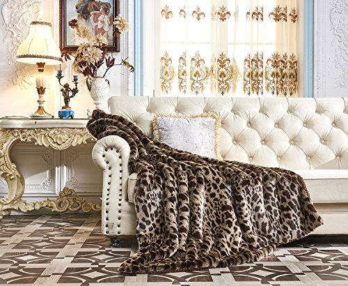 Animal Faux Fur Throw (Lindsey Home Fashion Faux Fur Throw, Fur Blankets Super Soft Japanese Kanekalon Fiber, Sheepskin, Mink, Wolf, Bear, 60