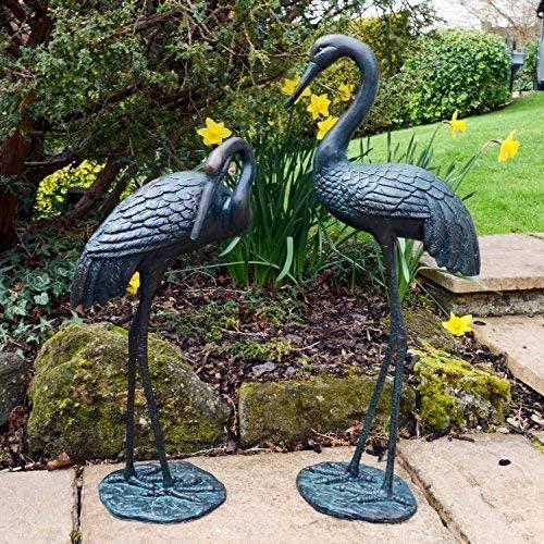 Estatuas y esculturas en línea Elegantes grullas de Bronce Metal para jardín Adornos: Amazon.es: Jardín