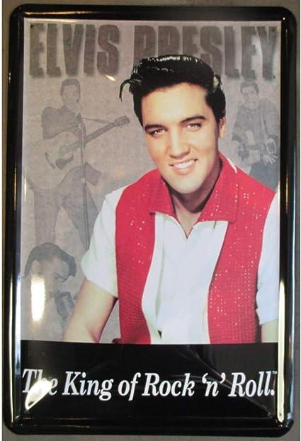 hotrodspirit – Placa Elvis Presley con una Camisa Blanca y ...