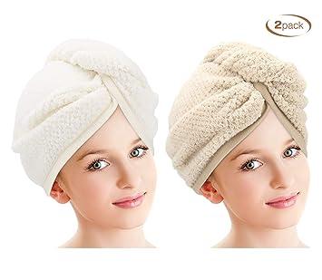Microfiber Hair Towel Khaki /& Gray 2 Pack Hair Towel Wrap LEARJA Anti Frizz