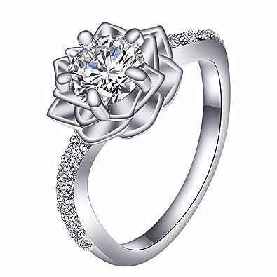 Amazoncom Ubei 925 Sterling Silver Cubic Zirconia Snow Lotus