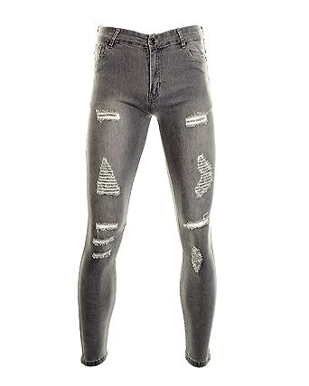 0f26fa044af Fuchia boutique Men s Skinny Fit Multi Ripped Distressed Jeans Slim Legs  Fashion Jeans 28R 30R 32R