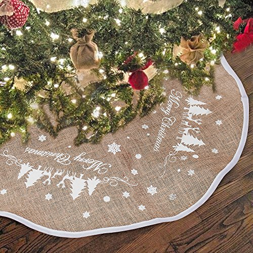Hootech Christmas Tree Skirt 48 Inch Burlap Tree Skirts Ornaments Xmas Decorations White Snowflake Printed for Christmas Party (48