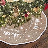 """Hootech Christmas Tree Skirt Burlap Mat Tree Ornaments Decoration White Snowflake Printed for Merry Christmas Party (48""""/122cm)"""