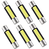 29mm 6614F Festoon LED Bulb Extremely Bright 9-SMD 4014 chips 6000k White 6641 LED Bulb Replacement for Car Interior Dome light, Vanity Mirror Fuse Sun Visor Light 6612F LED Bulbs (pack of 6)