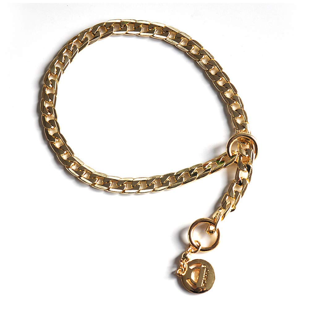 50 1.0cm Haipurpleis Neck Thickness 12Mm Diameter Dog Choke Choker Necklace Thick Silver gold Chrome Steel Metal Training (color   50 1.0cm, Size  )