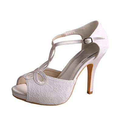 Wedopus MW312 Women s Open Toe High Heeled T-Strap Lace Platform Wedding  Bridal Sandals Beige  Amazon.co.uk  Shoes   Bags 799f4975746f