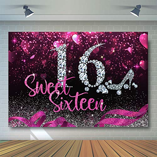 COMOPHOTO Sweet 16th Birthday Party Backdrop High Heel Diamond Sweet Sixteen Photography Background Pink Girl's Birthday Party Banner Decorations -