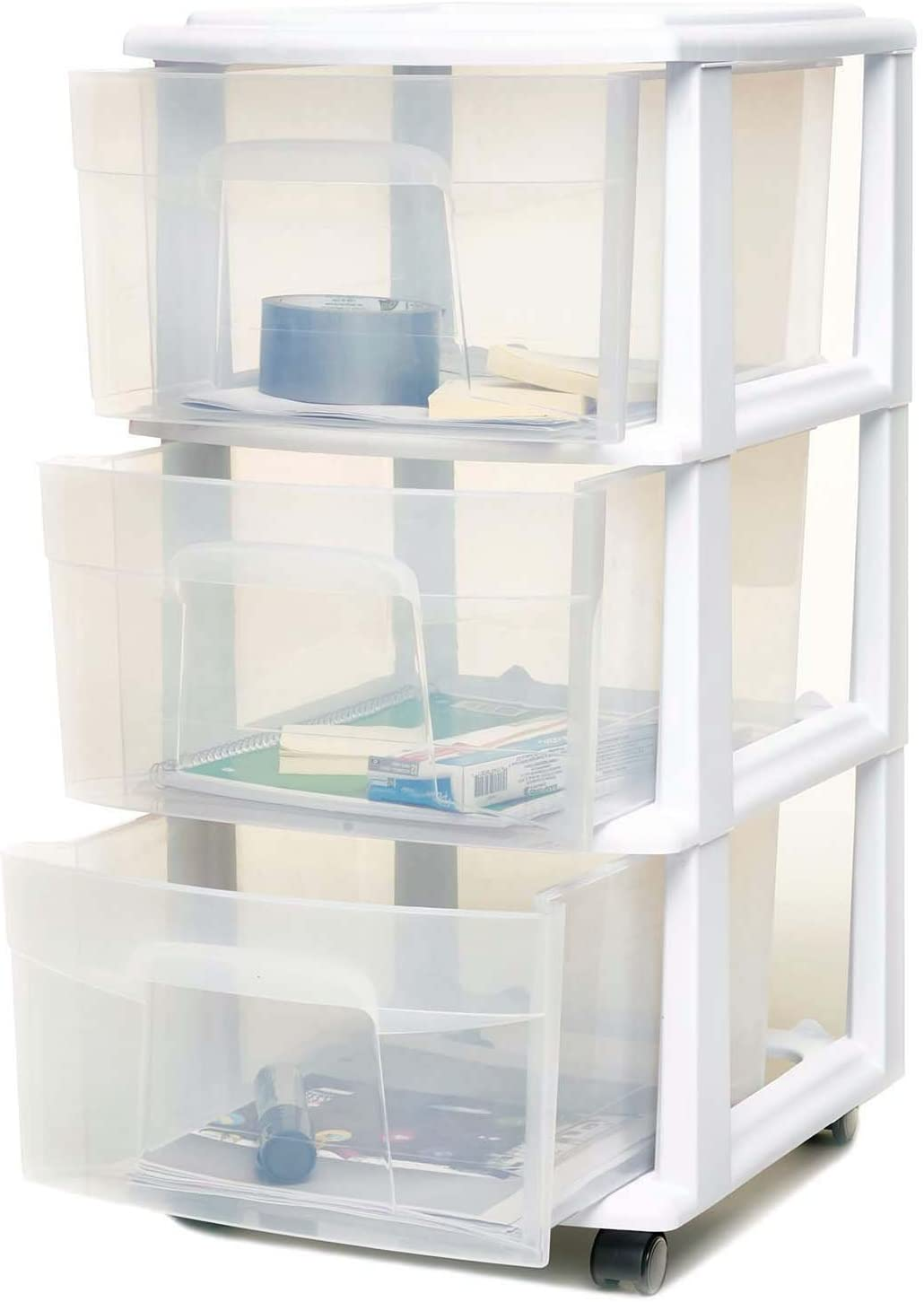 HOMZ 3 Drawer Medium Storage Cart, Set of 1, White: Home & Kitchen