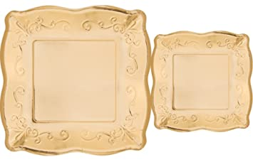 Scalloped Embossed Square Premium Paper Plates Bundle Includes Dinner Plates and Appetizer/Dessert Plates  sc 1 st  Amazon.com & Amazon.com: Scalloped Embossed Square Premium Paper Plates: Bundle ...