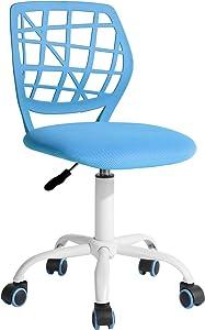 FurnitureR Computer Desk Chair, Swivel Armless Mesh Task Office Chair Adjustable Home Children Study Adjustable Height & Lumbar Support (Blue) …