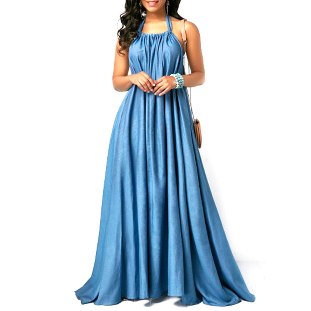 Feraco Women's Halter Neck Backless Blue Maxi Dress Casual Loose Sleeveless Long Dresses for Summer,X-Large