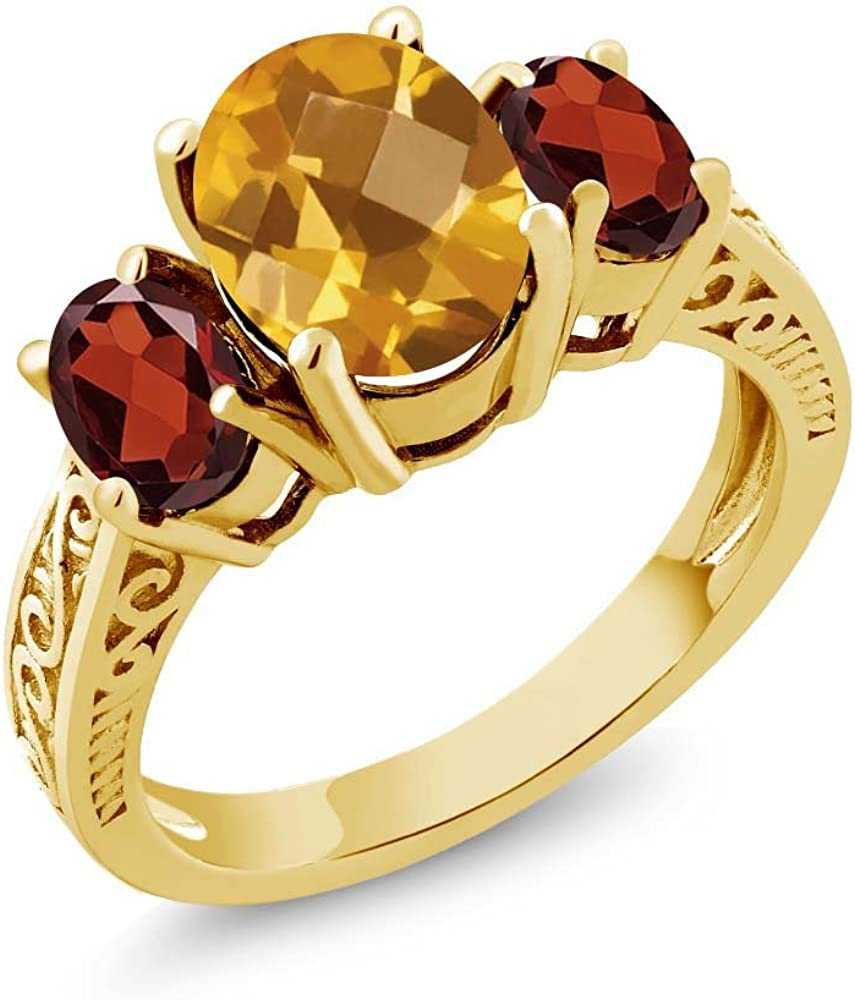 Quality Jewelry 1.60 Carat Genuine Citrine Fashion Ring with 14K Yellow Gold Plated