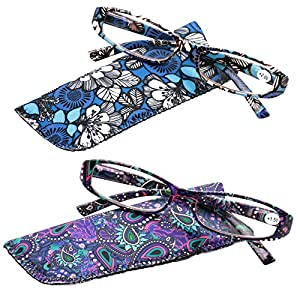 SOOLALA 2-Pair Designer Fashionable Spring Hinge Rectangular Reading Glasses w/Matching Pouch, BluePurple, 2.75