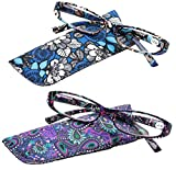 SOOLALA 2-Pair Designer Fashionable Spring Hinge Rectangular Reading Glasses w/Matching Pouch, BluePurple, 2.0