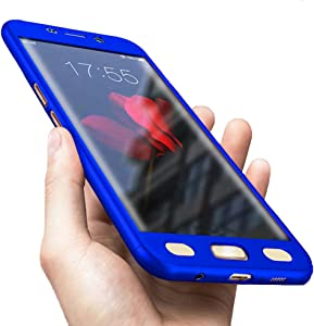 Compatible for Galaxy S7 Edge Case, 360 Full Body Hard PC Case with[Tempered Glass Screen Protector] 3 in 1 Ultra-Thin Case (5.5inch) (Blue)