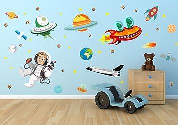 Nikima   005 Wandtattoo Kinderzimmer Weltall Alien Erde Mond Planet Rakete  Weltraum Space Astronaut   In