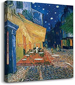 Cafe Terrace in Arles at Night by Vincent Van Gogh, modern art micro-jet canvas prints, stretched and framed, wall art decoration, home Office decoration,can be directly hung.