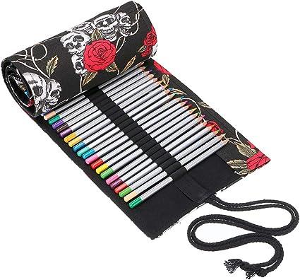 BTSKY Estuche Enrollable para Lápices con 72 Agujeros Cortina de Lápices de Tela de Gran Capacidad Organizador para Envolver Lápices de Colores, Color Negro Estampado de Rosa Calavera: Amazon.es: Oficina y papelería
