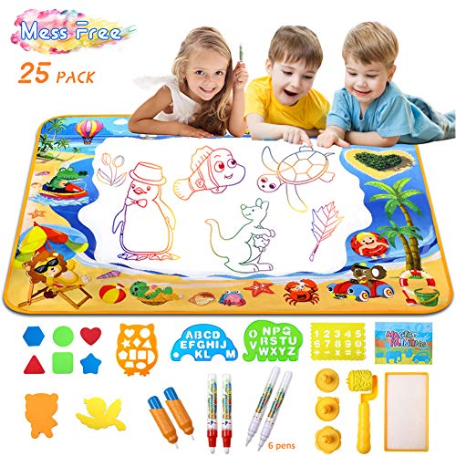 Doodle Mat Water Doodle Mat for Toddlers Aquadoodle Water Drawing Mat Large Magic Aqua mat for Kids Educational Toys for Toddlers Mess Free Drawing Mat Toys Gifts for Girls and Boys 40