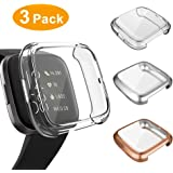 3 Pack Screen Protector Compatible Fitbit Versa 2 Case, GHIJKL Ultra-Thin Slim Soft TPU Protective Case All-Around Full Cover Bumper Shell for Fitbit Versa 2 Smart Watch, Clear, Silver, Rose Gold