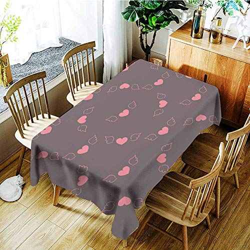 AGONIU Custom Tablecloth,Seamless Pattern Romantic Valentine Flying Pink Hearts with Wings Dark Purple Background Fabric Wallpaper Quilting,High-end Durable Creative Home,W54x72L