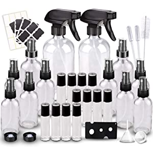 Glass Spray Bottles Kits, BonyTek Empty 12 10 ml Roller Bottles, 12 Clear Essential Oil Bottle (2 x 16oz,2 x 4oz,8 x 2oz) with Labels for Aromatherapy Cleaning Products