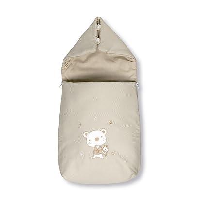 Pirulos 37013010 - Saco recién nacido, diseño osito star, algodón, 36 x 75 x 5 cm, color blanco y lino