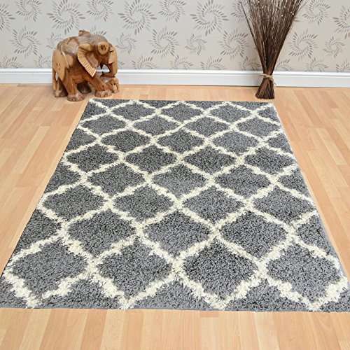 Berrnour Home Plush Shaggy Grey Shag (5' X 7') Area Rug