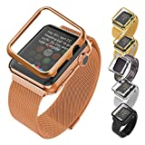 Apple Watch Band with Protective Case(42MM), Bandmax Women's Rose Gold Plated Stainless Steel Mesh Strap for Apple Watch/Watch Sport/Watch Edition with Magnet Lock