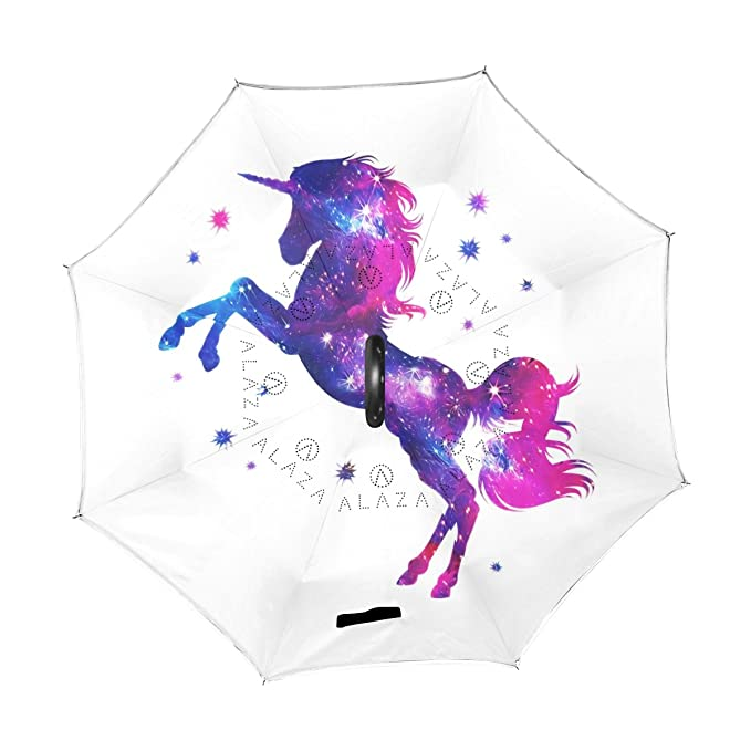 Amazon.com : ALAZA Double Layer Inverted Cosmic Unicorn Stars Umbrella Cars Reverse Windproof Rain Umbrella for Car Outdoor With C Shaped Handle : Sports & ...