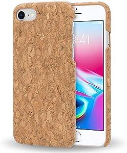 NALIA Cork Case Compatible with iPhone SE 2020/8 / 7, Slim Hardcase Protective Natural Wood Cover Mobile Phone Skin, Shockproof Design Back Protector Nature Phonecase Shell, Motiv:Light Cork Pattern