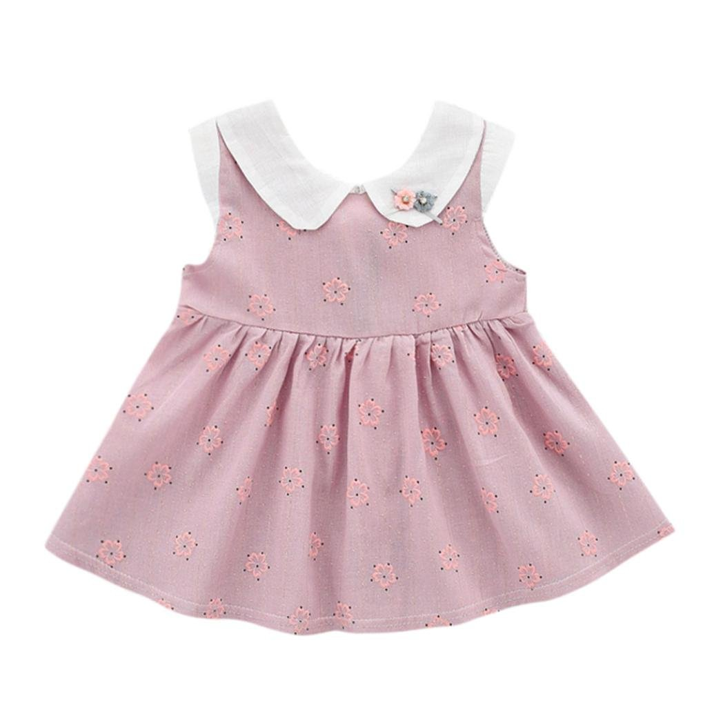 Iuhan Infant Toddler Baby Girl Dress Floral Sleeveless Bow Sundress Clothes Outfits