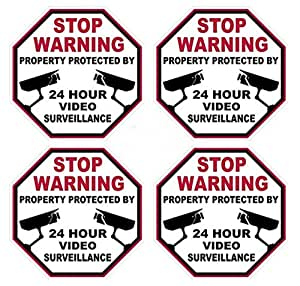 "4 Pcs Fiduciary Modern Video Surveillance Sticker Signs 24Hr Warning Business Defense Anti-Thief Size 3"" x 3"""