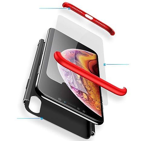 2ndSpring Xiaomi Redmi Note 5 Pro Funda,360 Grados Carcasa Integral para Ambas Caras + Cristal Templado, Luxury 3 in 1 PC Hard Skin Carcasa Case Cover ...