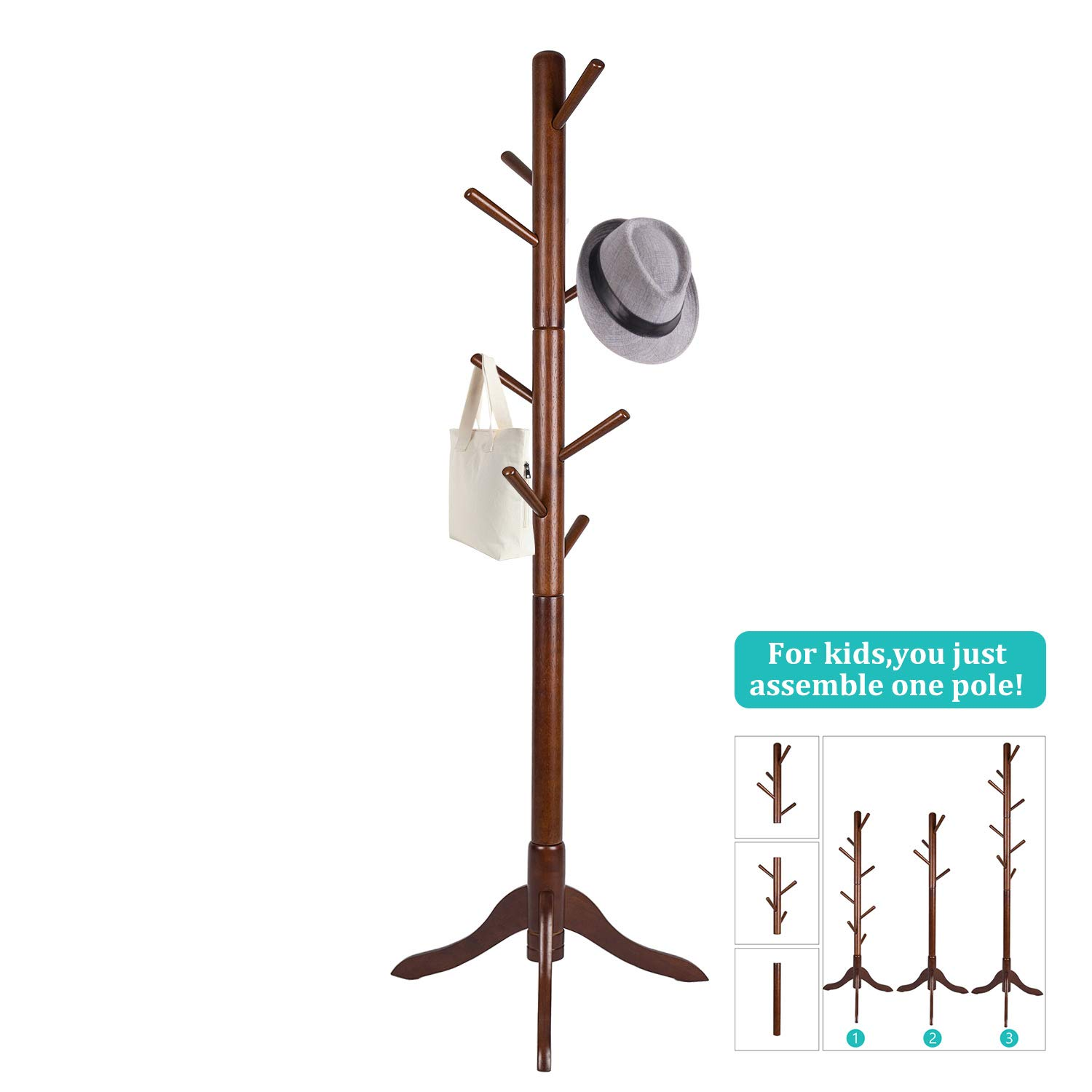 Vlush Standing Coat Rack,Wooden Coat Hat Tree Coat Hanger Holder Coat Hook  Entryway Hall Tree with Solid Rubber Wood Base for