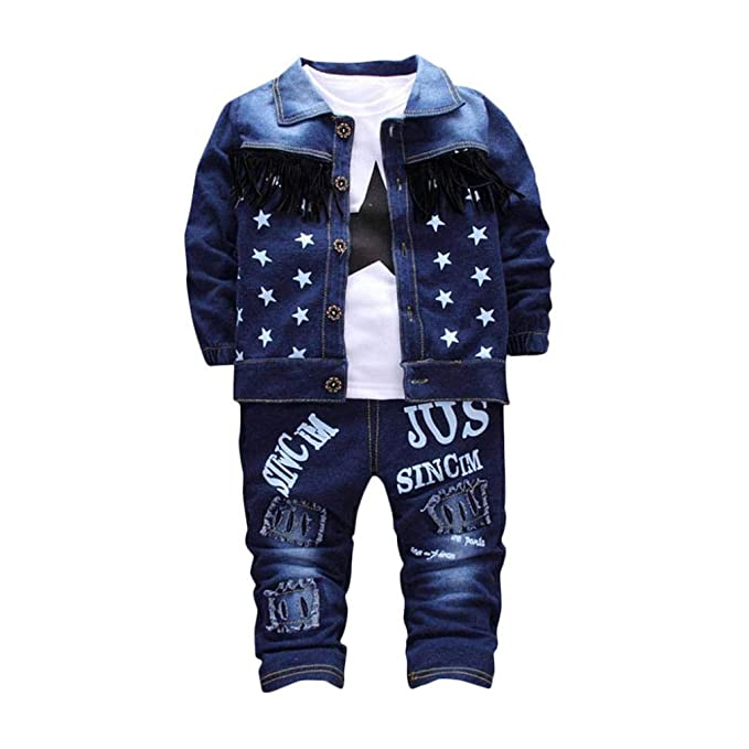 toddler kids boys outfits clothes long sleeve outfits tops /&pants sets star