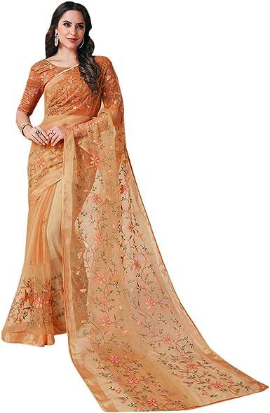 Organza Silk Saree with Printed Designer Sari Wedding Bridal Gift Occasional Wear Party Wedding Sari
