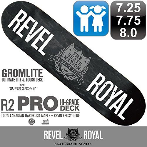 学校間接的海洋のREVEL ROYAL スケートボード スケボー プロ シリーズ ロゴ デッキ 7.25 / 7.75 / 8.0インチ 超軽量 100% カナディアン ハードロック メイプル + エポキシ樹脂グルー