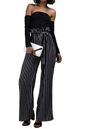 a472a03f2 Amazon.com: AKIRA Women's 2 in 1 Off Shoulder Long Sleeve Stripe High Waist  Belted Wide Leg Pant Jumpsuit: Clothing