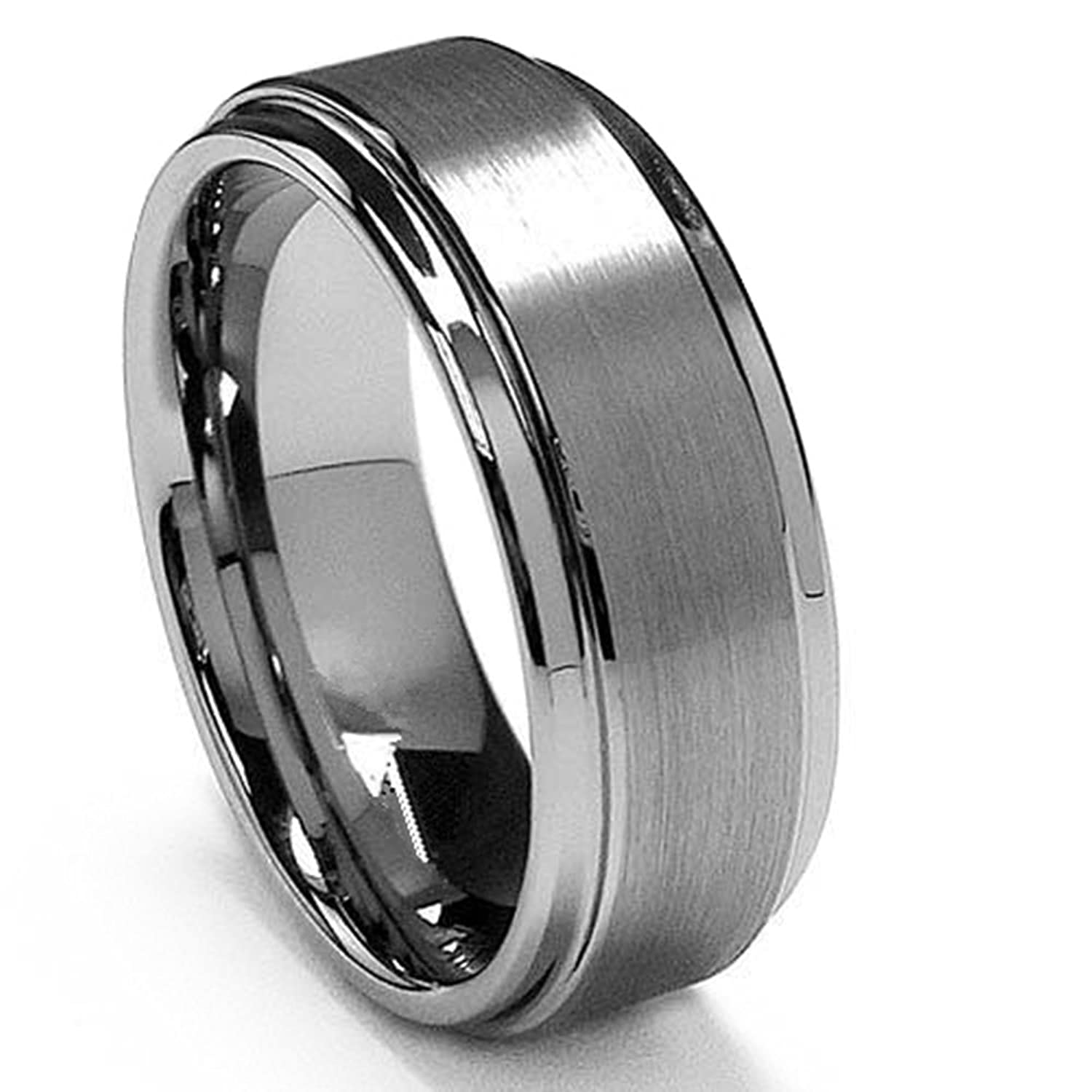 King Will BASIC 8mm White Tungsten Ring Wedding Band Step Edge